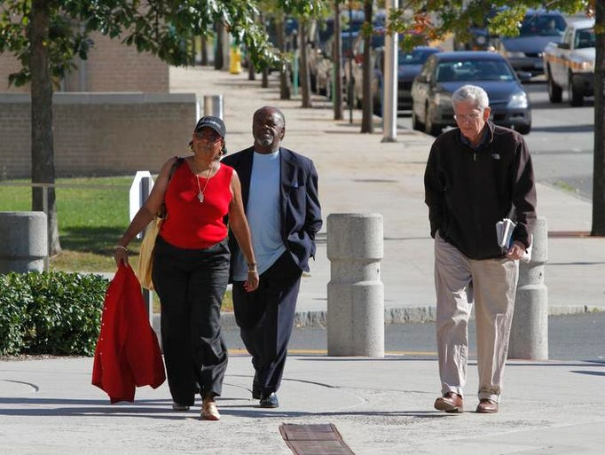Constance L. Frazier, Willie Trotman, President of the Spring Valley NAACP and Oscar Cohen, Chair of the education committee for the NAACP, enter the White Plains Federal Courthouse on Sept. 30, 2013.