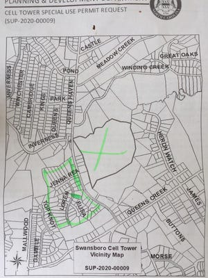 A map of the site Verizon Wireless hopes to build a cell tower.