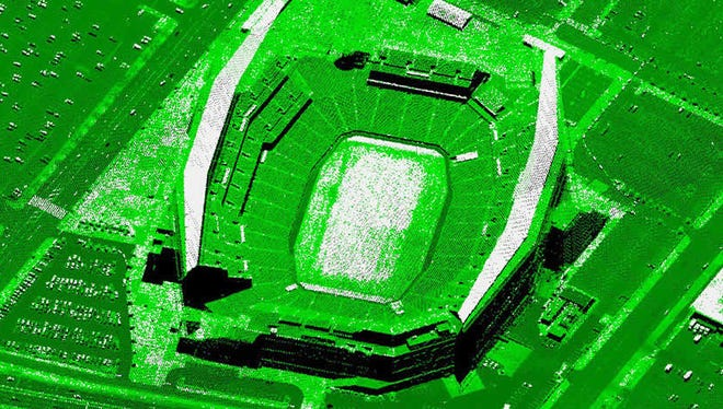 Here's an example picture of how a football stadium would look under Pictometry's LiDAR-based aerial imaging system.