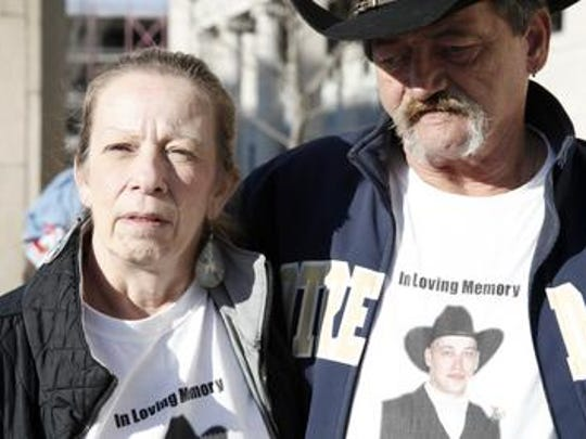 Karen Moorehead and Robert Moorehead Jr., of Port Crane, outside Broome County Court in December 2012, talking about their son, Robert Moorhead III who was killed in a May 2011 crash caused by a drunk driver.