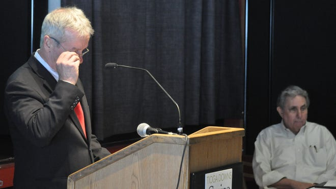 Bill Walsh speaks at Tioga Downs on Jan. 16, while the racino's owner Jeff Gural listens.