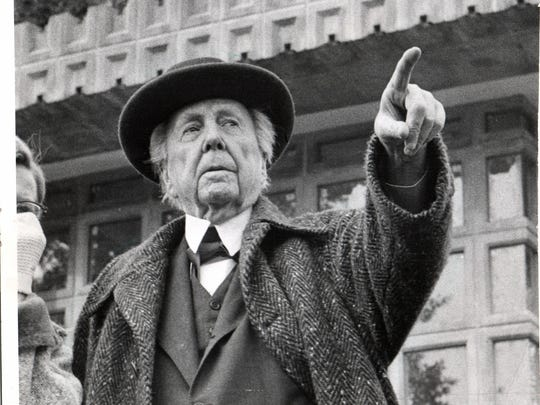 This is the way Detroiters saw Frank Lloyd Wright during last visit here in 1957