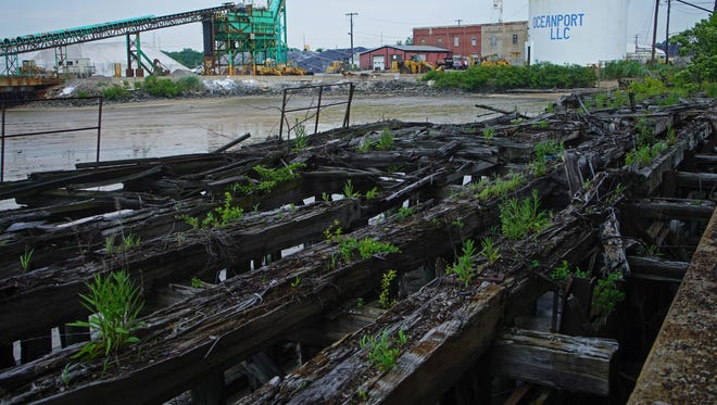 The old railroad lines that lead out the shipping docks of the former General Chemical site in Claymont, one of 14 sites that can be redeveloped under a new Coastal Zone Act permitting process.