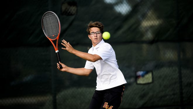 Rocky Mountain singles player Jonny Titelbaum competes in a match last year. Titelbaum is one of  the local returning players.