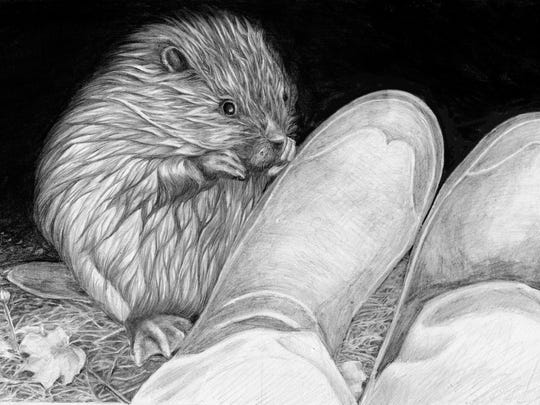 """Snowberry the beaver and artist's boots, drawn by West Brattleboro author Patti A. Smith and published in her 2014 book, """"The Beavers of Popple's Pond: Sketches from the Life of an Honorary Rodent."""""""