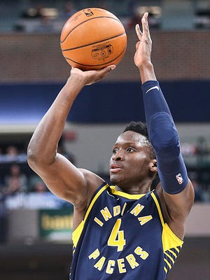 Indiana Pacers guard Victor Oladipo (4) shoots a three-point goal during fourth quarter action between the Indiana Pacers and Brooklyn Nets at Banker's Life Fieldhouse, Indianapolis, Saturday, Dec. 23, 2017. The Pacers won in overtime, 123-119.