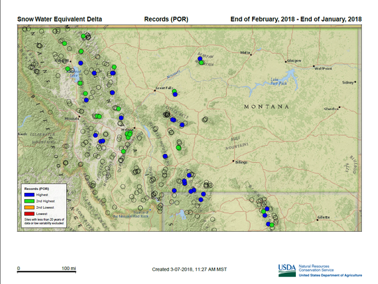 Blue indicates record snow water equivalent in mountain