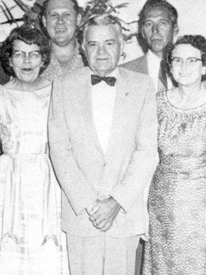 The retirement party from the post office for Ralph Hartman Sr. (center) in                                                 1958.