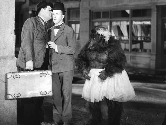 """Charles Gemora in """"The Chimp"""", with Laurel and Hardy,"""