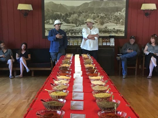Frank Ostini, in white pith helmet, and executive chef Pascal Gode lead a BBQ Bootcamp spice-blending workshop at The Alisal Guest Ranch and Resort near Solvang.