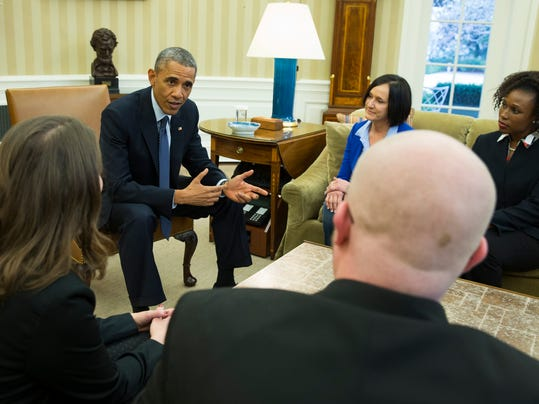 Barack Obama, Victor Fugate, Rebekah Erler, Carolyn Reed and Katrice Mubiru