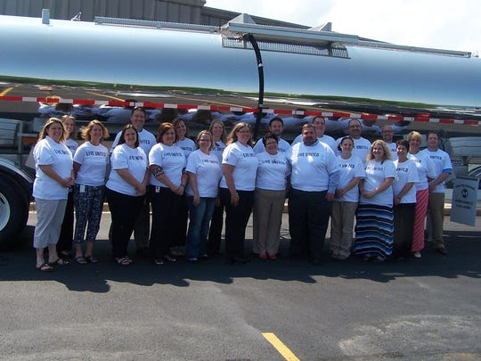 Staff members at Brenner Tank pose for a group photo in support of the United Way.