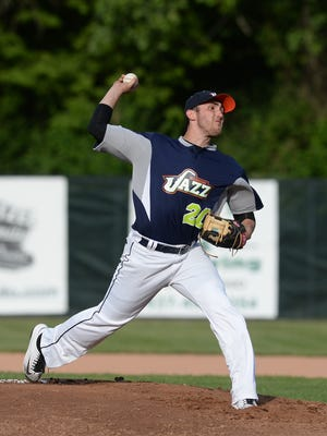 Bryce Pennington throws out the first pitch as the Richmond Jazz baseball team hold their home opener against the Licking County Settlers Thursday, June 9, 2016 on John Cate Field at McBride Stadium in Richmond.
