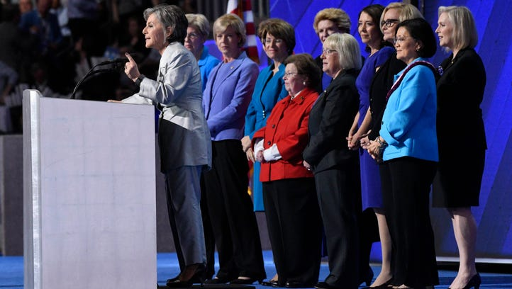 Female Democratic senators take the stage at the Democratic