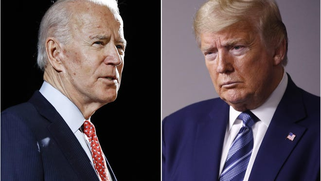 Former Vice President Joe Biden speaks in Wilmington, Del., on March 12. President Trump speaks at the White House on April 5.