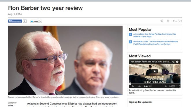 Democrats are crying foul over a Republican website criticizing the record of Rep. Ron Barber, D-Ariz. They accuse the National Republican Congressional Committee of trying to deceive voters with a fake news website.