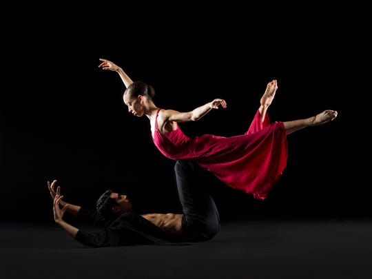 Dancers Chyrstyn Fentroy and Jorge Villarin perform