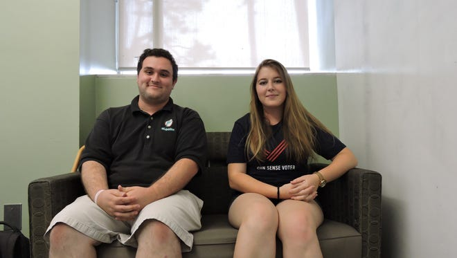 Jacob Elpern, Campus Outreach Coordinator for the campaign to Keep Guns off Campus,  and Jade Reindl, vice president of FSU's College Democrats