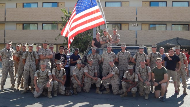 A recent group of marines who were met and provided with free transportation to and from their base by S.O.S. this summer.