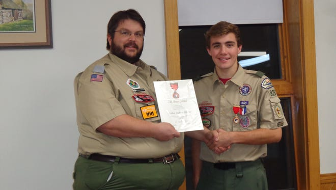 Cullen Hilliker was recently awarded the Honor Medal by the National Council of the Boy Scouts of America.