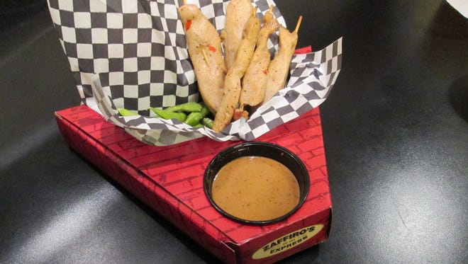 Asian Chicken Skewers with Edamame Sauce from Zaffiro's, an eatery inside the Marcus Cinema in Sheboygan.