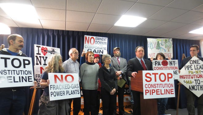 Opponents of a natural-gas pipeline across Pennsylvania and the Southern Tier rally Feb. 18, 2016, near the state Capitol