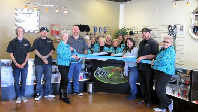 On Wednesday  the Ruidoso Valley Chamber of Commerce and Greeters held a Ribbon Cutting for Mc E's Vapor Lounge.  The owner's Sean and Brenda McCracken along with their staff were delighted to have the Greeters and the Chamber present to celebrate their ribbon cutting.