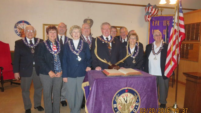 The initiation of the 2016-2017 Two Rivers Elks Lodge No. 1380 officers was held earlier this month. Pictured, from left, is treasurer Herman Gagnon, trustee Yvonne Sheley, secretary Gary Sheahan, Loyal Knight Lenore McDonough, Leading Knight Mike Wojta, Exalted Ruler Dave Abts, trustee Steve Krupka, Esquire Bob Hackl, chaplain Julie Schroeder, tiler Louann Kudick and inner guard Genie Varney. Not pictured is Lecturing Knight Paul Leider.