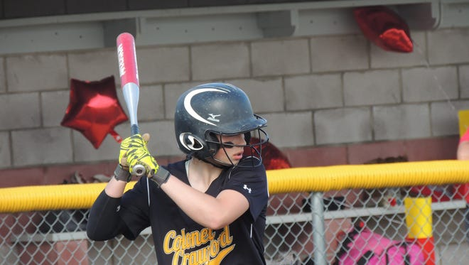 Colonel Crawford junior Alexus Burkhart smacked three hits and drove in four RBIs in the 8-0 N10 clinching win over Buckeye Central on Wednesday.
