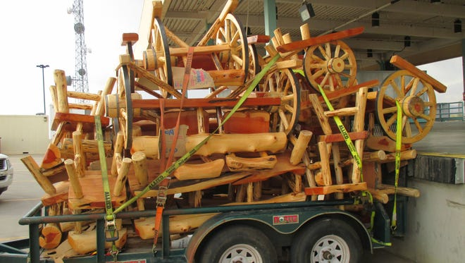 Marijuana was found hidden in rustic furniture Wednesday at the Santa Teresa border crossing.