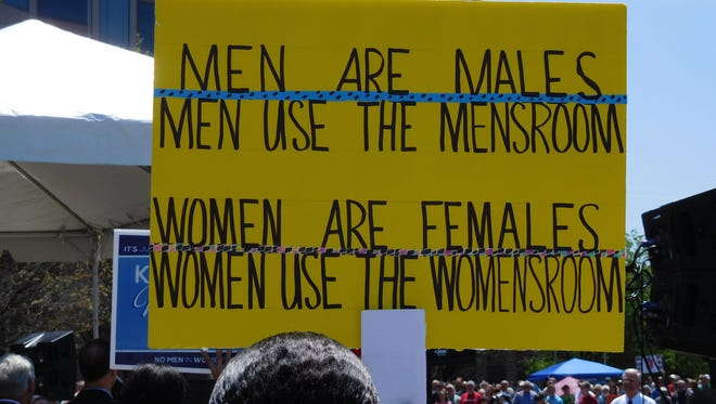 This sign was one of several displayed during an April demonstration backing HB2 in Raleigh.