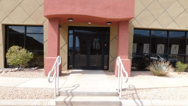 The front entrance of the Deep Roots Harvest medical marijuana dispensary in Mesquite.