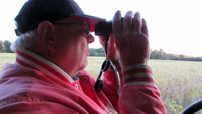 When the deer aren't close, Bob brings out his binoculars.