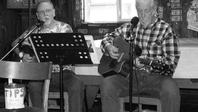 Steven O. Sellers, left, and Don Hymel took a break from recording to play live at the Western in Cloudcroft. Sellers and Hymel recorded an album at SPOT in Tularosa.