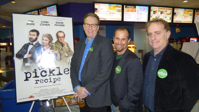"Michigan-made film comedy ""The Pickle Recipe,"" co-written and produced by Gary Wolfson (left) of Bloomfield Township and Sheldon Cohn (right) of West Bloomfield and directed by Mike Manasseri (center) of West Bloomfield opened on Thursday night at The Maple Theater in Bloomfield Hills and Emagine Theatre Novi and will run for the next week."