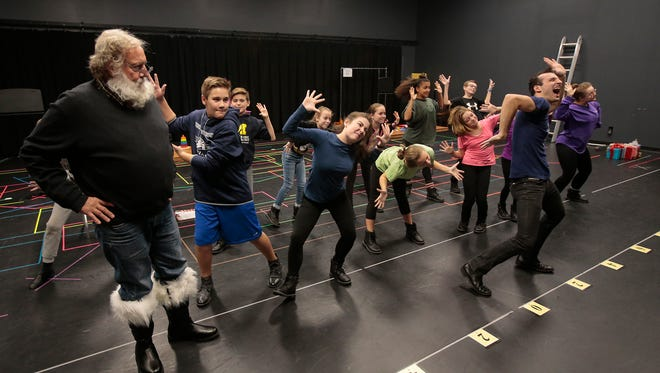 "Members of The Children's Theatre of Cincinnati rehearse a sensory-friendly performance of ""Elf,"" Monday, Nov. 21, 2016."