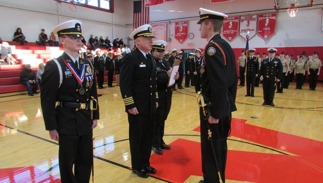 ROTC cadets at Rancocas Valley Regional High School undergo a recent inspection review. The school's program has  been rated one of the top  55 cadet training corps  in the Northeast U.S.