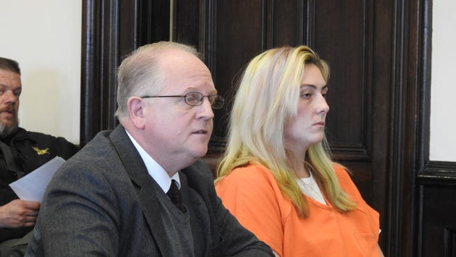 Tiffany Workman, 23, of New Philadelphia, appeared in court with Public Defender Jeff Mullen Monday morning for sentencing on a charge of the illegal assembly or possession of chemicals for the manufacture of drugs, methamphetamine. Judge Robert Batchelor sentenced her to serve two years in prison.