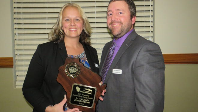 Sam and Jennifer Zimmermann received the Outstanding Young Farmer award on Jan. 28.