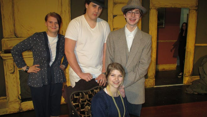 'Harvey,' will be performed by the SVE Drama Club Friday and Saturday, Feb. 24-25, in the SVE High School Spear  Auditorium at 7 p.m. From left to right, standing: Serenity Henry, Rowan Page, and Nick  Sandusky; seated is Katy Overly.