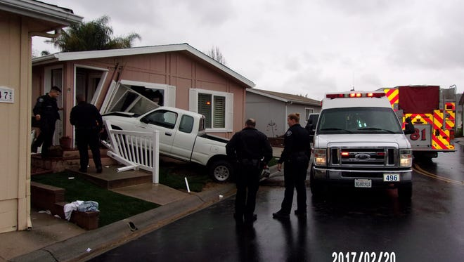 A truck crashed into a Santa Paula home Monday afternoon, injuring the driver and the resident.