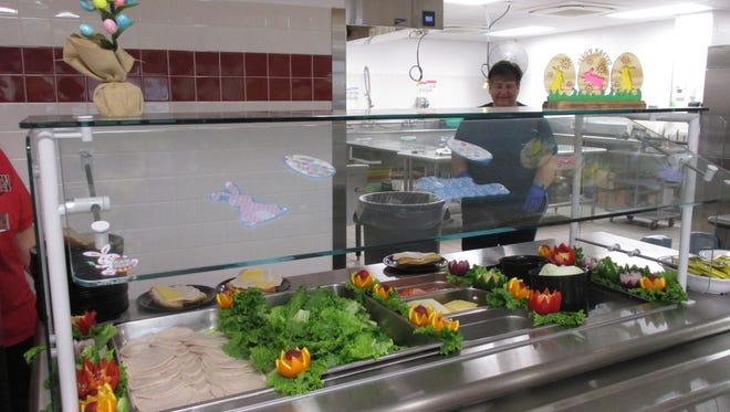The cafeteria staff at the SVE High School do a beautiful job on presentation for the daily lunch.