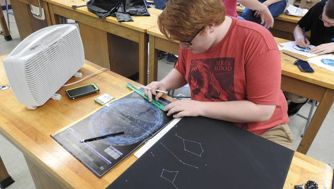 Coshocton High School senior Skyler Wright takes measurements to plot out a star chart he will display during the upcoming Star Party, sponsored by the CHS Astro Club. The event will provide free food and games with a celestial theme. It will also offer visitors a chance to check out the night sky through the school's telescope, if the weather permits.