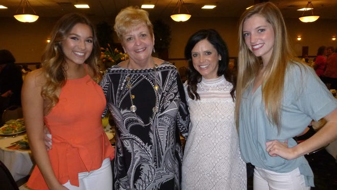 The Wesley House recently held a Tablescapes Luncheon to benefit the community support center at Rothchild's Catering. Pictured here are Nora Khaddouma, Marti Hobson, Valeria Guess and Maddie Little.