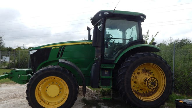This 2012 John Deere tractor was part of an agriculture equipment theft ring case in Haskell County. Four men from Munday, Texas, pleaded guilty in the case including James Christopher Phillips, 38; Ronnie Alan Phillips, 57; Roy Lee Mayes, 48; and Jonathan Levett Reagins, 38.