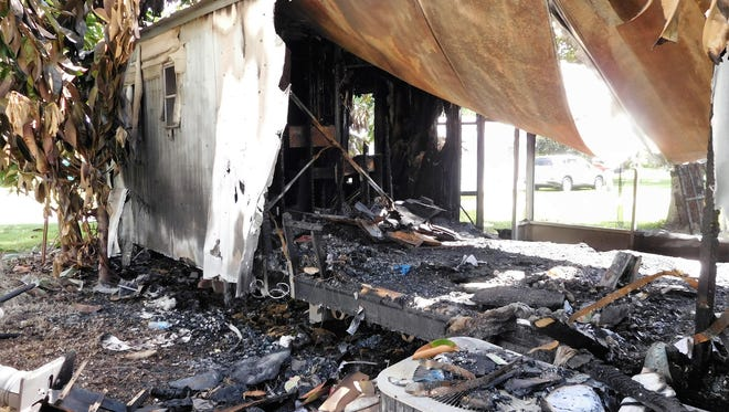 A fire early Sunday morning turned Richard Rowe's Sebastian mobile home to cinders.