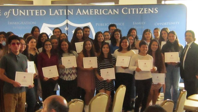 Thirty-two of the 39 LULAC scholarship recipients attended a scholarship ceremony last month.
