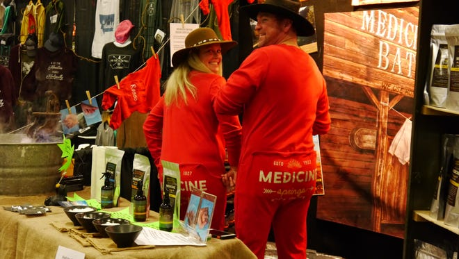 Owners Julie and Brandon Price show off their Medicine Springs union suits at Friday's What Women Want Expo.