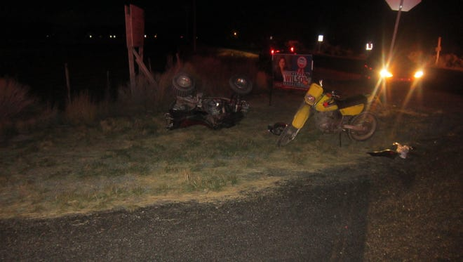 A 15-year-old male is in critical condition after his four-wheeler was hit by a truck Monday night.