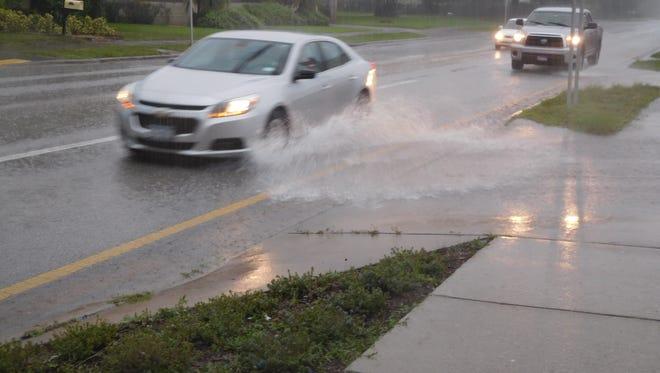 Rainfall caused some street flooding in Vero Beach.